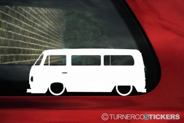 2x Low car outline stickers - for Volkswagen T2 Transporter CAMPER Van Bay-Window